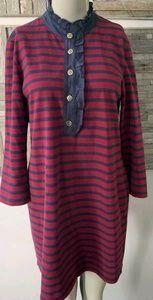 Tory Burch- Navy/Burgundy Stripes Dress- Size Larg